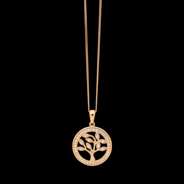 ELLANI STERLING SILVER ALL ROSE GOLD CZ SURROUND SMALL TREE OF LIFE NECKLACE