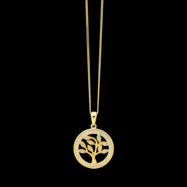 ELLANI STERLING SILVER ALL GOLD CZ SURROUND SMALL TREE OF LIFE NECKLACE