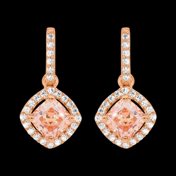 ELLANI STERLING SILVER ROSE GOLD MORGANITE CZ ANGLE CUSHION DROP EARRINGS
