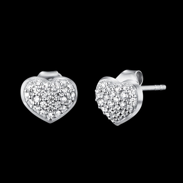 ENGELSRUFER SILVER CZ HEART STUD EARRINGS