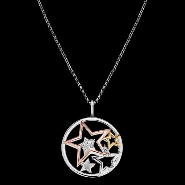 ENGELSRUFER TRICOLOUR CZ CIRCLE OF STARS NECKLACE