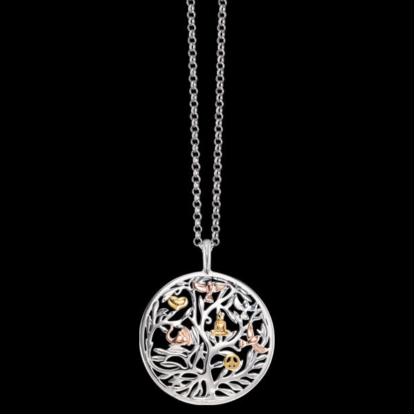 ENGELSRUFER TRICOLOUR TREE OF LIFE CIRCLE NECKLACE