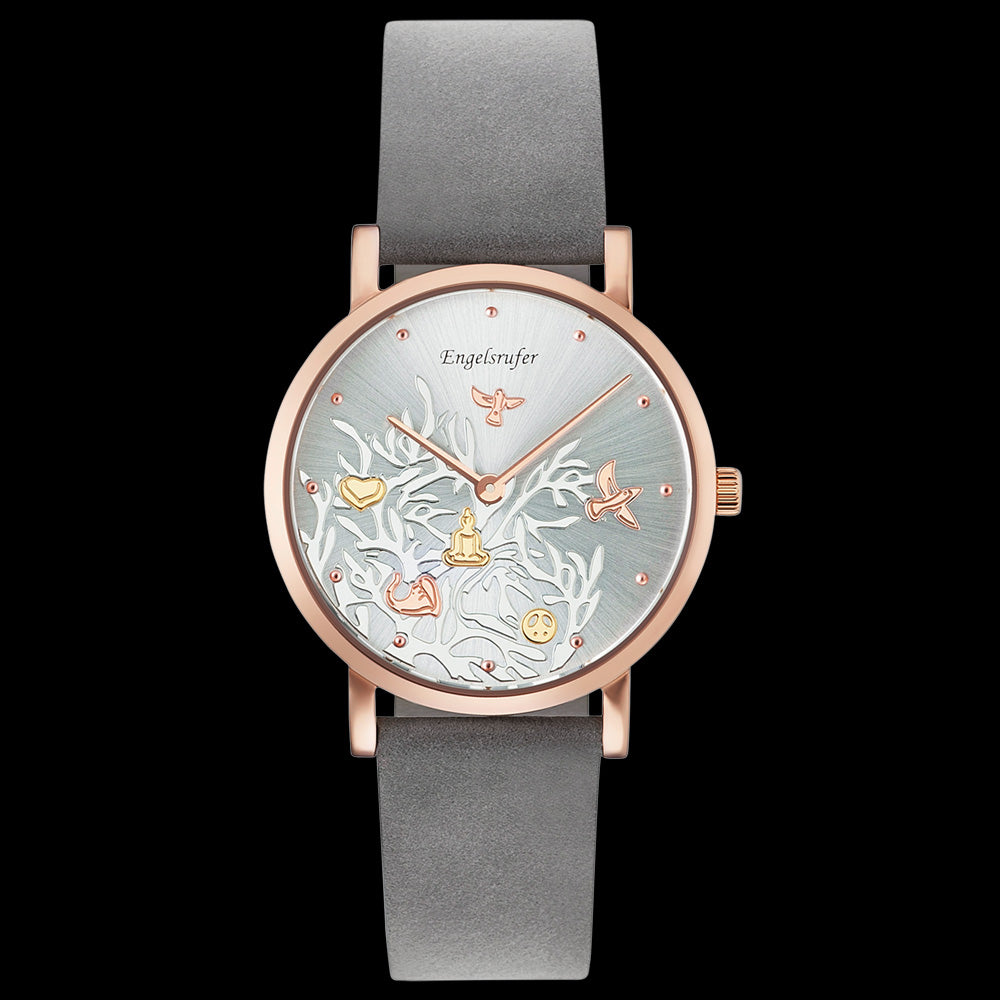 ENGELSRUFER TREE OF LIFE DIAL ROSE GOLD LEATHER WATCH