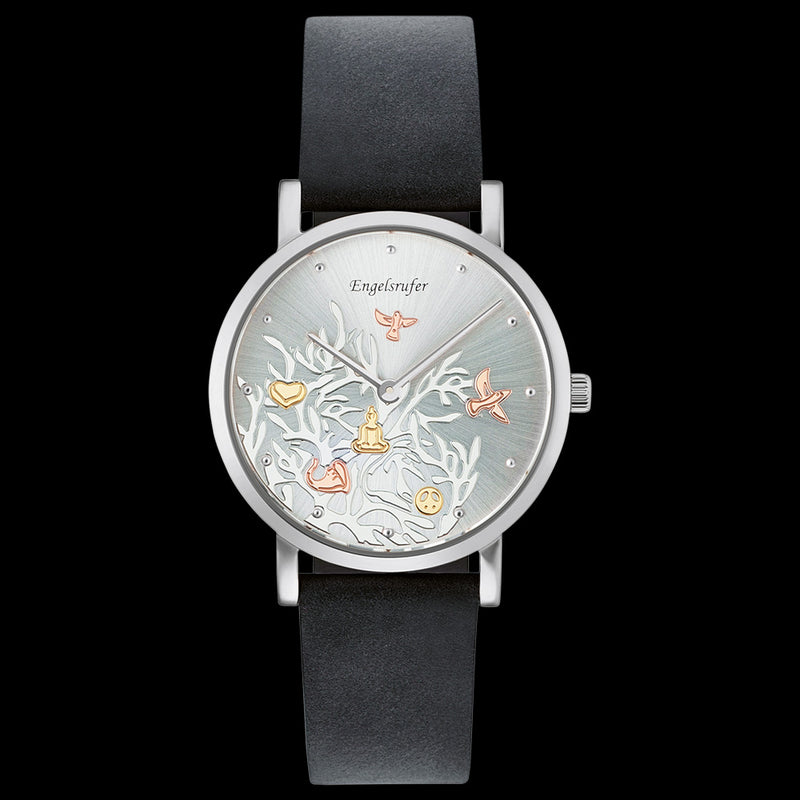 ENGELSRUFER TREE OF LIFE DIAL SILVER LEATHER WATCH