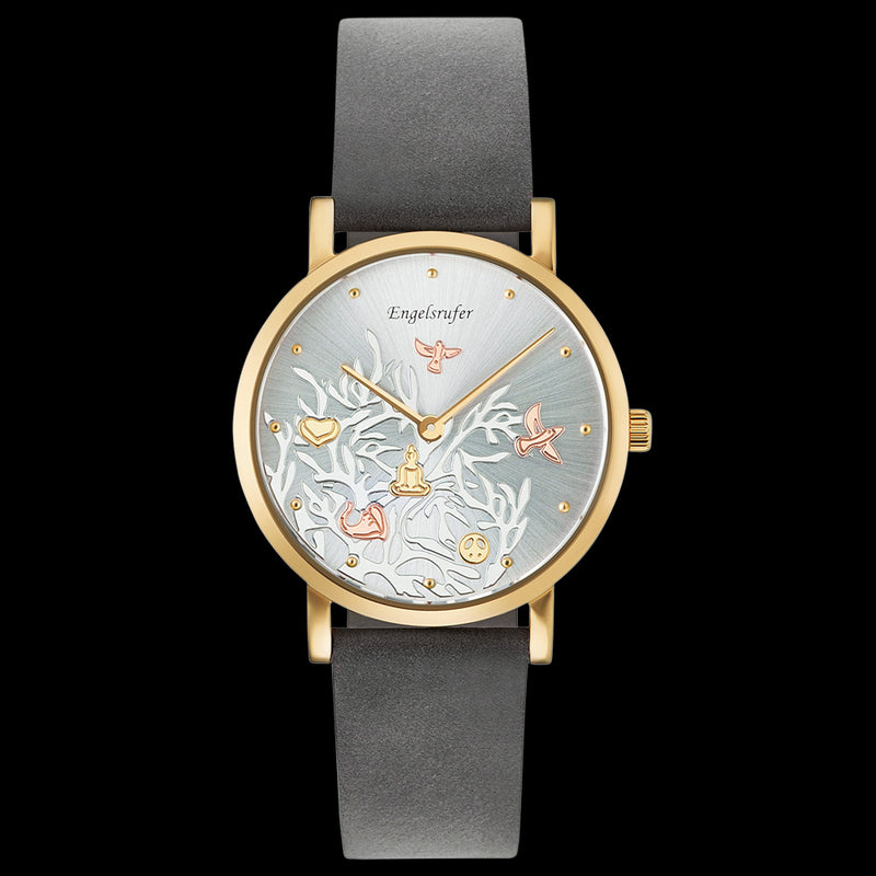 ENGELSRUFER TREE OF LIFE DIAL GOLD LEATHER WATCH
