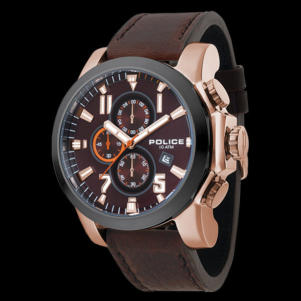 POLICE THRUST ROSE GOLD BROWN LEATHER WATCH