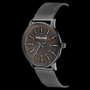 POLICE MEN'S NORMAN GUNMETAL GREY MESH WATCH - SIDE VIEW