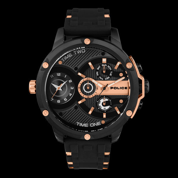 POLICE MEN'S LEADER MULTI BLACK & ROSE GOLD SILICONE WATCH