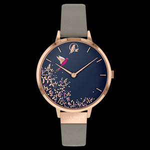 SARA MILLER CHELSEA HUMMINGBIRD 34MM NAVY DIAL ROSE GOLD MINK LEATHER WATCH