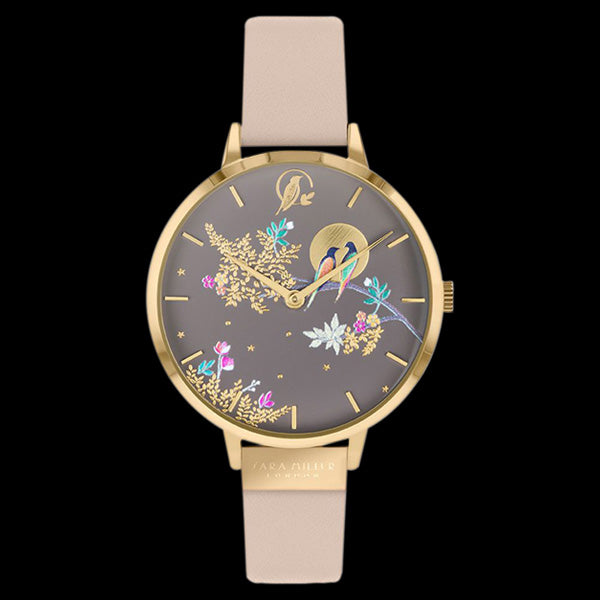 SARA MILLER CHELSEA BIRDS IN MOON 34MM MOCCA DIAL GOLD BEIGE LEATHER WATCH
