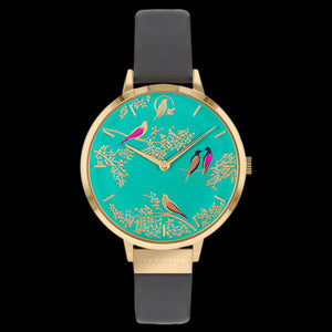 SARA MILLER CHELSEA BIRDS 34MM GREEN DIAL GOLD GREY LEATHER WATCH