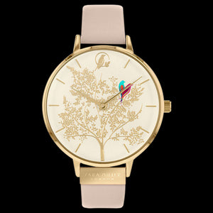 SARA MILLER CHELSEA LOVEBIRDS 38MM CHAMPAGNE DIAL GOLD BEIGE LEATHER WATCH