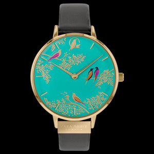 SARA MILLER CHELSEA BIRDS 38MM GREEN DIAL GOLD GREY LEATHER WATCH