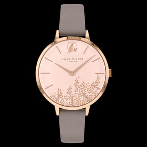 SARA MILLER CHELSEA LEAF 34MM SOFT PINK DIAL ROSE GOLD MINK LEATHER WATCH