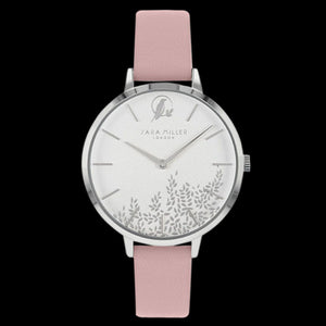 SARA MILLER CHELSEA LEAF 34MM WHITE  DIAL SILVER PINK LEATHER WATCH