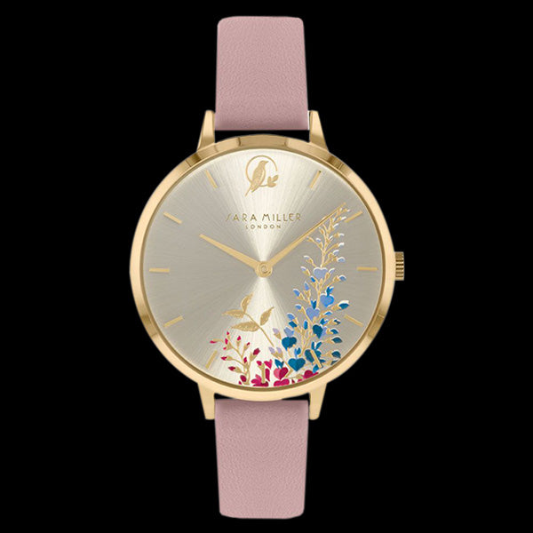 SARA MILLER WISTERIA 34MM SUNRAY DIAL  GOLD PINK LEATHER WATCH