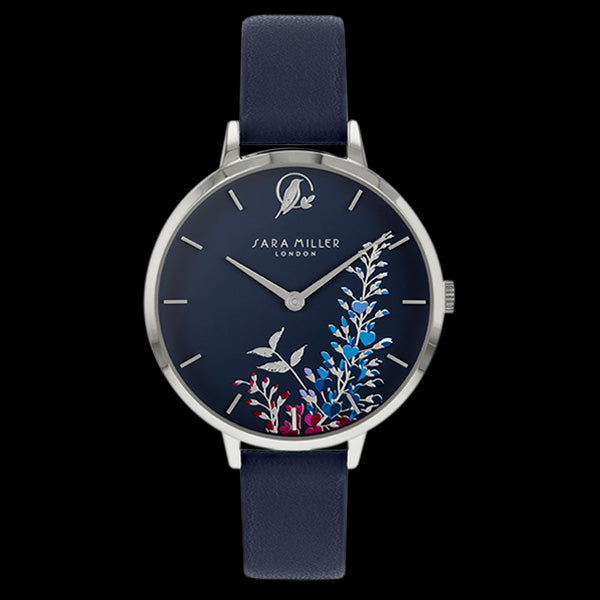 SARA MILLER WISTERIA 34MM NAVY BLUE DIAL SILVER NAVY LEATHER WATCH