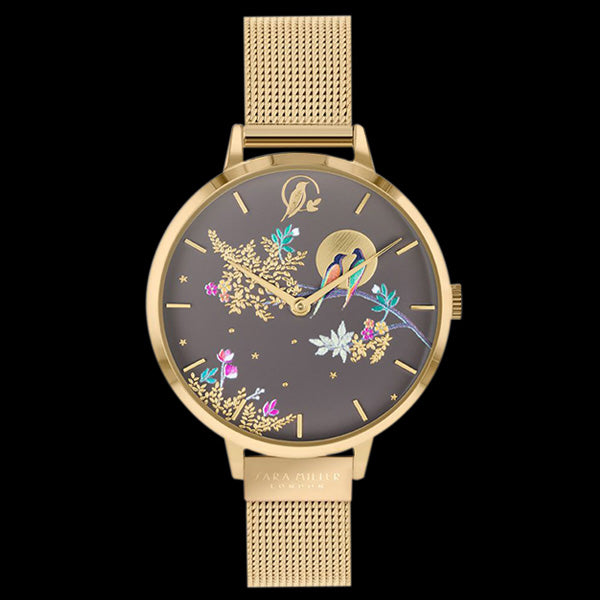 SARA MILLER CHELSEA BIRDS IN MOON 34MM MOCCA DIAL GOLD MESH WATCH