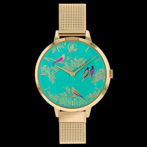SARA MILLER CHELSEA BIRDS 34MM GREEN DIAL GOLD MESH WATCH