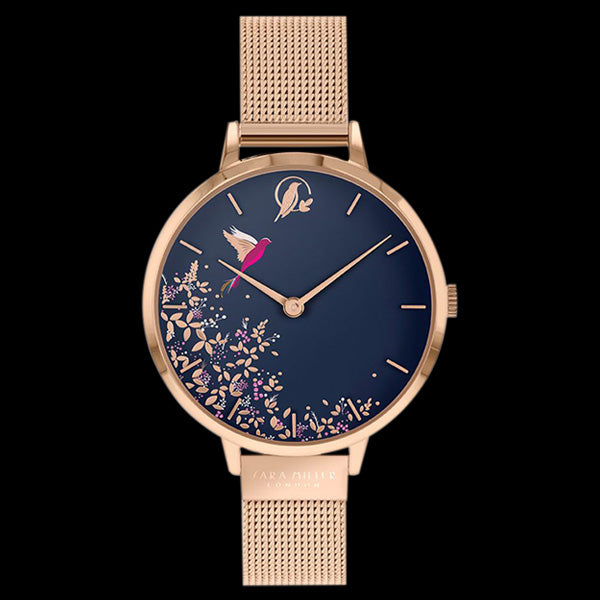SARA MILLER CHELSEA HUMMINGBIRD 34MM NAVY BLUE DIAL ROSE GOLD MESH WATCH