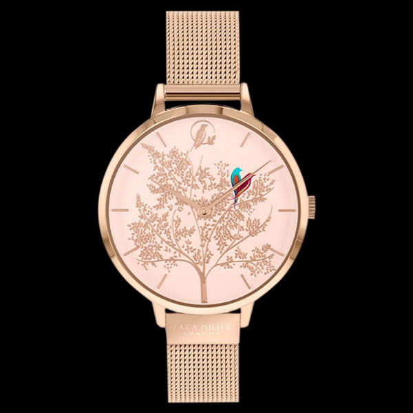 SARA MILLER CHELSEA LOVEBIRDS 34MM SOFT PINK DIAL ROSE GOLD MESH WATCH