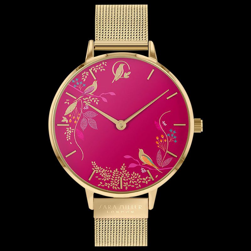 SARA MILLER CHELSEA BIRDS 38MM PINK DIAL GOLD MESH WATCH