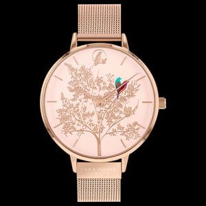 SARA MILLER CHELSEA LOVEBIRDS 38MM SOFT PINK DIAL ROSE GOLD MESH WATCH