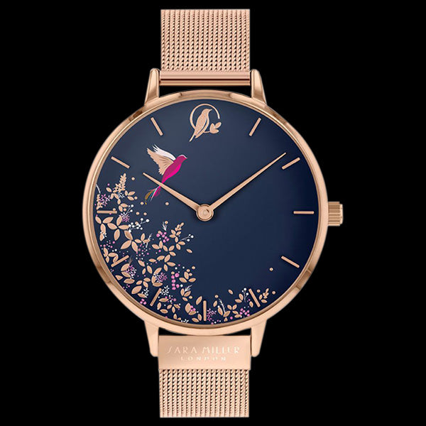 SARA MILLER CHELSEA HUMMINGBIRD 38MM NAVY BLUE DIAL ROSE GOLD MESH WATCH