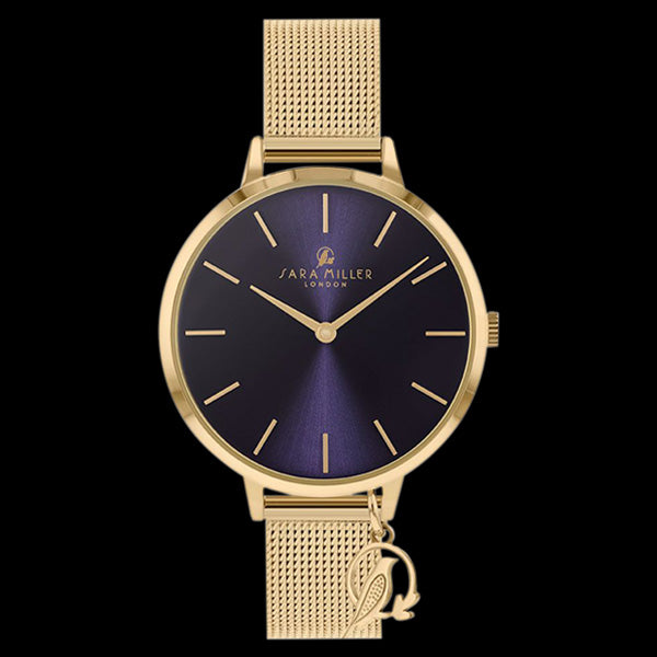 SARA MILLER CHELSEA CHARM 34MM NAVY BLUE DIAL GOLD MESH WATCH