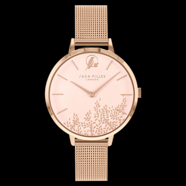 SARA MILLER CHELSEA LEAF 34MM SOFT PINK  DIAL ROSE GOLD MESH WATCH