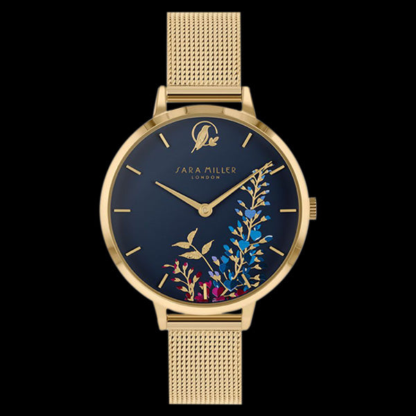 SARA MILLER WISTERIA 34MM NAVY BLUE DIAL GOLD MESH WATCH