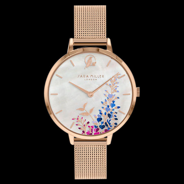 SARA MILLER WISTERIA 34MM MOTHER OF PEARL DIAL ROSE GOLD MESH WATCH