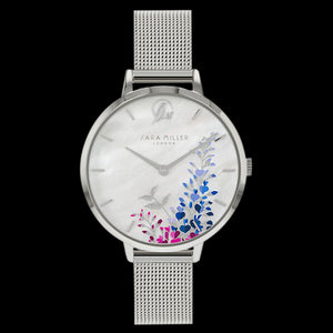 SARA MILLER WISTERIA 34MM MOTHER OF PEARL DIAL SILVER MESH WATCH