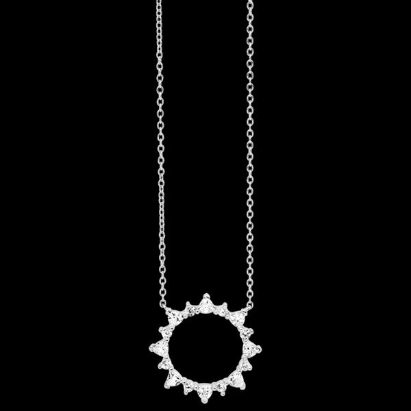 ELLANI STERLING SILVER TRILLION SET CZ 21CM CIRCLE NECKLACE
