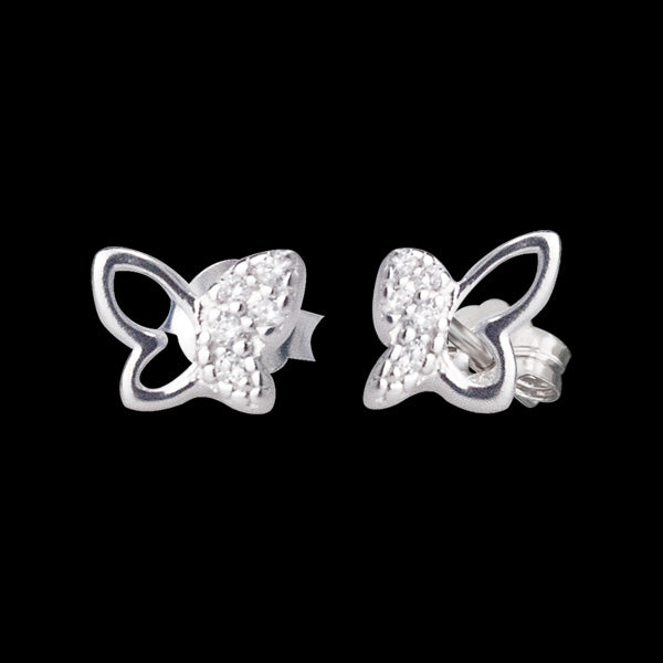 HERZENGEL CHILDREN'S SILVER BUTTERFLY CZ STUD EARRINGS