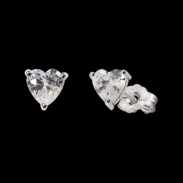HERZENGEL CHILDREN'S SILVER HEART CZ STUD EARRINGS
