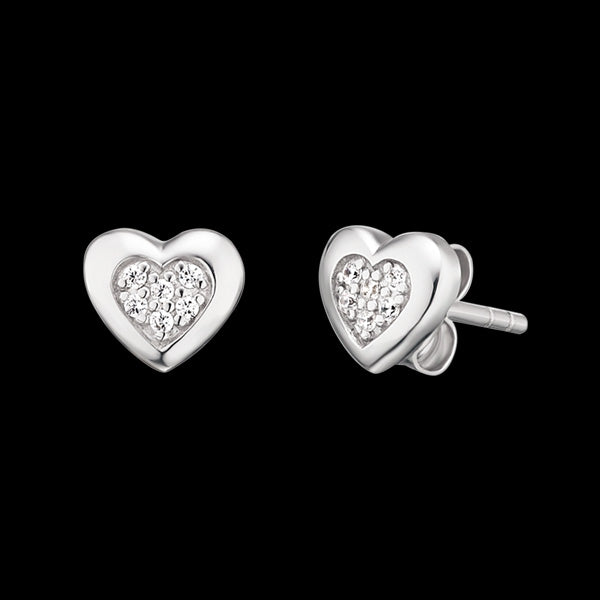 HERZENGEL CHILDREN'S SILVER HEART PAVE CZ STUD EARRINGS