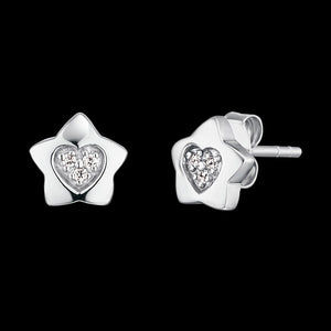 HERZENGEL CHILDREN'S SILVER STAR HEART PAVE CZ STUD EARRINGS