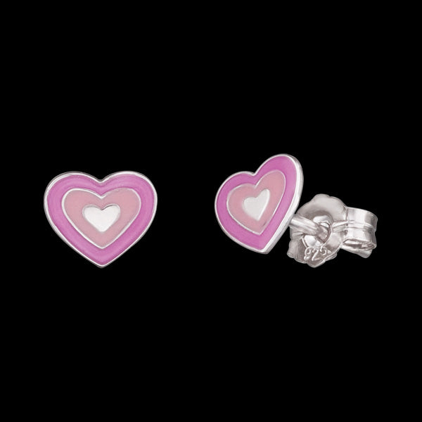 HERZENGEL CHILDREN'S SILVER LOVE HEART STUD EARRINGS