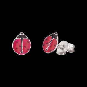 HERZENGEL CHILDREN'S SILVER LUCKY LADYBUG STUD EARRINGS