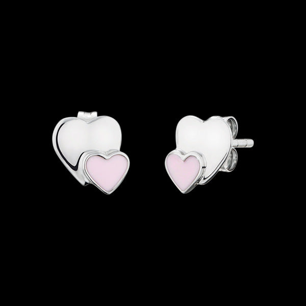 HERZENGEL CHILDREN'S SILVER TWO HEARTS STUD EARRINGS