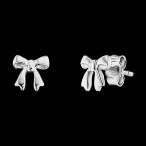 HERZENGEL CHILDREN'S SILVER BOW STUD EARRINGS