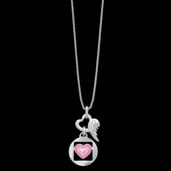 HERZENGEL CHILDREN'S SILVER LOVE HEART WING NECKLACE