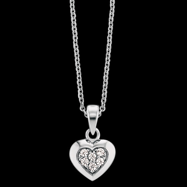 HERZENGEL CHILDREN'S SILVER HEART PAVE CZ NECKLACE