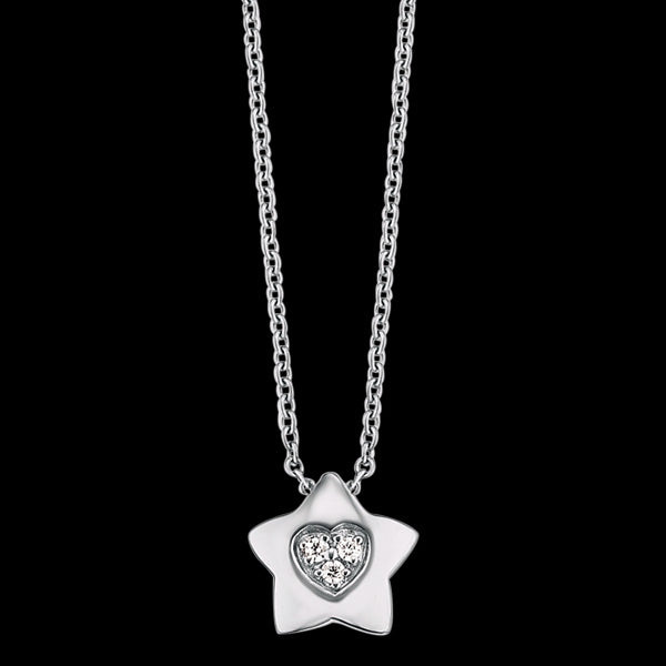HERZENGEL CHILDREN'S SILVER STAR HEART PAVE CZ NECKLACE