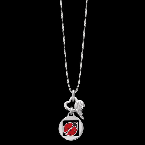 HERZENGEL CHILDREN'S SILVER LUCKY LADYBUG HEART WING NECKLACE