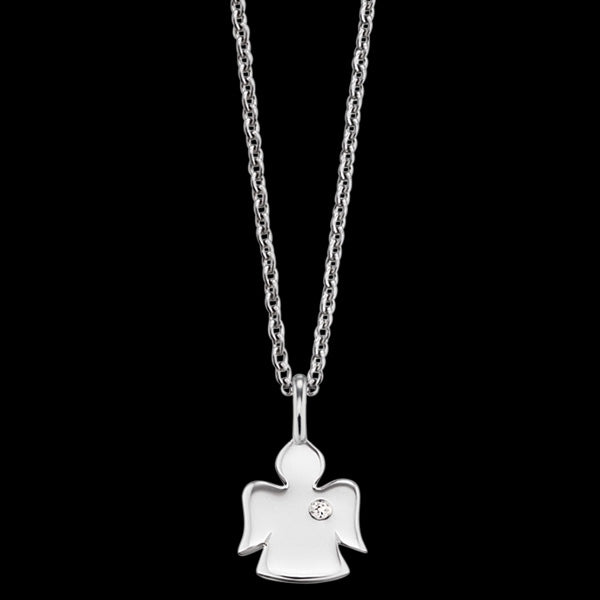 HERZENGEL CHILDREN'S SILVER ANGEL CZ NECKLACE