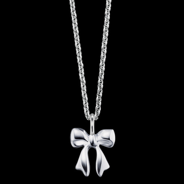 HERZENGEL CHILDREN'S SILVER BOW STUD NECKLACE