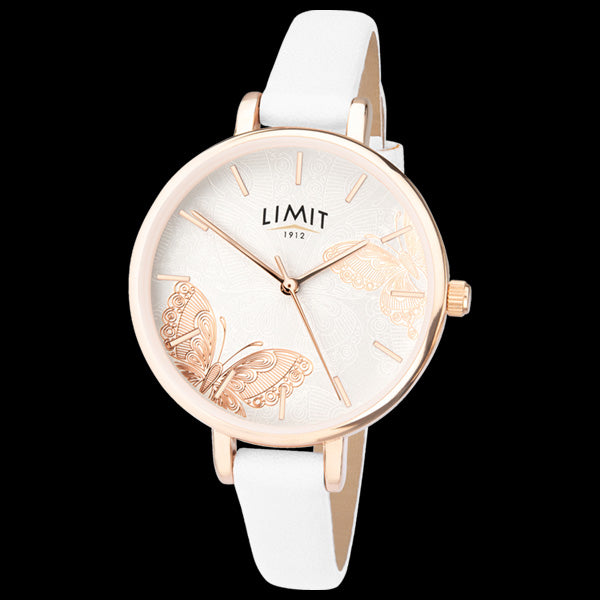 LIMIT SECRET GARDEN BUTTERFLY DIAL ROSE GOLD WHITE LEATHER WATCH