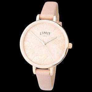 LIMIT SECRET GARDEN BUTTERFLY DIAL ROSE GOLD PINK LEATHER WATCH